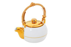White teapot with wooden handle  isolated Stock Photo
