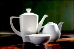 White teapots and cup horizontal Stock Photo