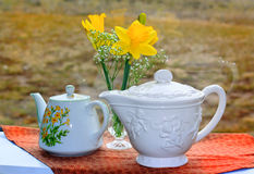 White Teapots Still Life Stock Photography