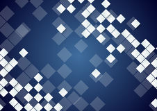 White tech squares on dark blue background Stock Photography