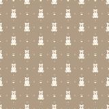White teddy bear on a brown background. Seamless pattern. White teddy bear on a brown background. Seamless pattern with bears Stock Images