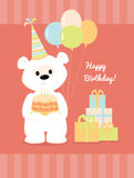 White teddy bear with cake, balloons and presents. Royalty Free Stock Photo