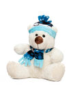 White teddy bear. In a cap and scarf stock photo