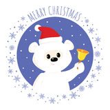 White teddy bear christmas bell square Stock Photography
