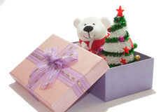 White teddy bear with christmas tree Royalty Free Stock Images