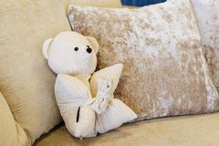 White teddy bear on white couch with light pillow and. Teddy bear playful on white sofa in living room. White teddy bear on white couch with light pillow and royalty free stock images