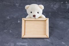 White teddy bear holding empty wooden frame. Gray background. stock photography