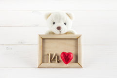 White teddy bear holding plate with hearts. Concept on 14 February. White teddy bear holding plate with hearts. Concept on 14 February stock photography