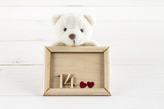 White teddy bear holding plate with hearts. Concept on 14 February. White teddy bear holding plate with hearts. Concept on 14 February Royalty Free Stock Image
