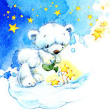 White Teddy bear and night stars background. watercolor