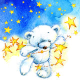 White Teddy bear and night stars background. watercolor Stock Images