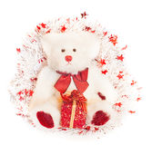 White teddy bear over christmas decoration Royalty Free Stock Photo