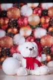 White teddy bear with presents. And christmas toy stock photos