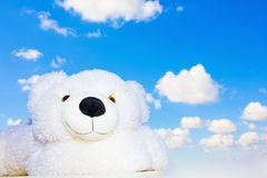 White teddy bear in the sky Royalty Free Stock Photography