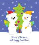 White Teddy Bear, Snowman and Christmas Tree. Colorful  Christmas and New Year greeting card design with a cartoon cute baby polar bear giving a present to Royalty Free Stock Photo