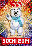 White teddy bear symbol of the Sochi Olympics in 2 Royalty Free Stock Photo