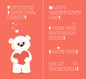 White teddy bear valentine Royalty Free Stock Photos