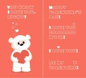 White teddy bear valentine. Vector greeting card with white teddy bear for valentines day Royalty Free Stock Photos