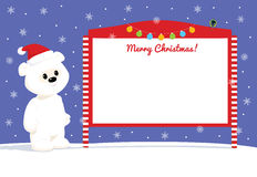White teddy near street notice board Royalty Free Stock Photography