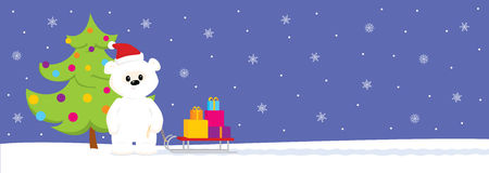 White teddy with sled and Christmas tree. Long format. Colorful  illustration of a cute cartoon baby polar bear standing on snow with a sled full of gifts near Royalty Free Stock Photos