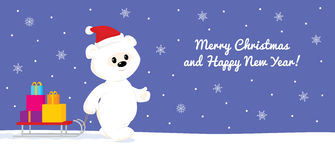 White teddy walking with sled. Colorful  illustration of a cute cartoon baby polar bear walking on snow and carrying presents on a sled. Blue background with Royalty Free Stock Photos