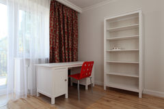 White teenage room. White spacious teenage room with red chair and curtains Stock Photo