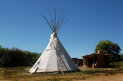 White Teepee. Pitched at living historical museum located in New Mexico Stock Images
