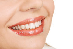 White teeth and joyful smile Stock Photo