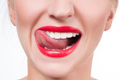 White teeth and red lips.  Perfect female smile after whitening teeth. White teeth and red lips. Perfect female smile after bleaching. Dental care and whitening Stock Images