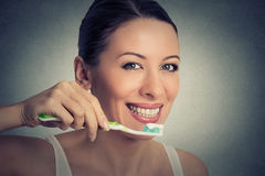 White teeth and toothbrush. Dental health Royalty Free Stock Photo