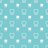 White teeth on turquoise back. Dental seamless pattern Stock Image