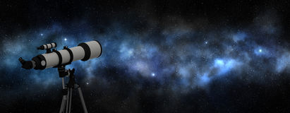 White telescope pointed at the milky way Stock Image