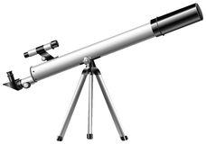 White telescope on tripod Royalty Free Stock Image
