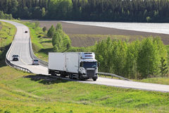 White Temperature Controlled Transport Truck on Summer Road royalty free stock image