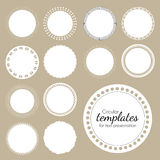 White template for text. Set of round white templates for text. Vector illustration.  frames for advantage or presentation. White circles with openwork pattern Royalty Free Stock Photography