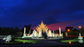 The White Temple with amazed sunset sky Royalty Free Stock Photos