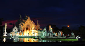 The White Temple with amazed sunset sky Royalty Free Stock Photography