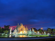 The White Temple with amazed sunset sky Royalty Free Stock Images