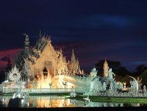 The White Temple with amazed sunset sky Stock Image