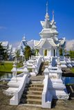 White Temple in Chiang Rai. Beautiful White Temple, or Wat Rong Khun, near Chiang Rai, Thailand, designed and owned by artist Chalermchai Kositpipat Stock Photos