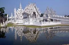 White temple in Chiang Rai, Thailand royalty free stock photo