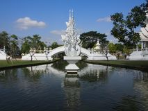 White temple in Chiangmai, Thailand. Right in the centre of the white temple a must visit place of interest located in Chiangmai, Thailand Stock Image