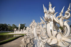 White temple in chiangrai Stock Photos