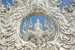 White temple detail. Sculpture detail of buddhist white temple wat rong khun, chiang rai, thailand Stock Image