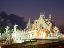 White temple is landmark of Chiangrai, Thailand Stock Photos