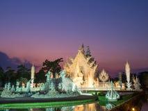 White temple is landmark of Chiangrai, Thailand Stock Photos