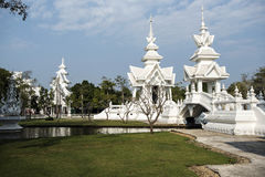 White temple. White, modern temple near the Chiang Rey Royalty Free Stock Image