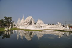 White temple Thailand. Rongkhun the most beautiful buddhist temple in Thailand Royalty Free Stock Photo