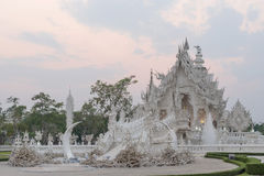White temple is unique beautiful Thai art in Chiangrai Stock Photography