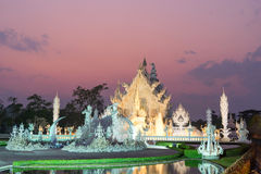 White temple is unique beautiful Thai art in Chiangrai Royalty Free Stock Photo